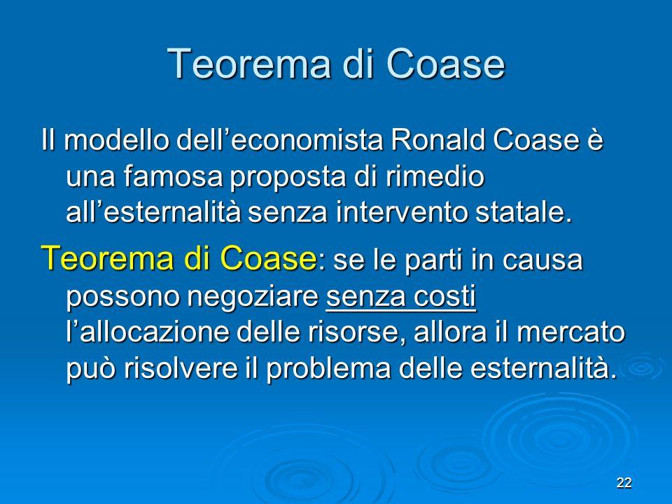 Teorema di Coase Il modello dell'economista Ronald Coase è una famosa proposta di rimedio all'esternalità senza intervento statale.