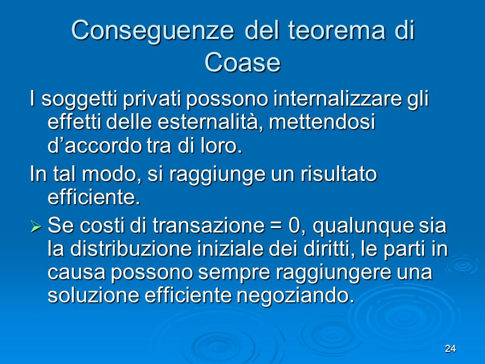Conseguenze del teorema di Coase