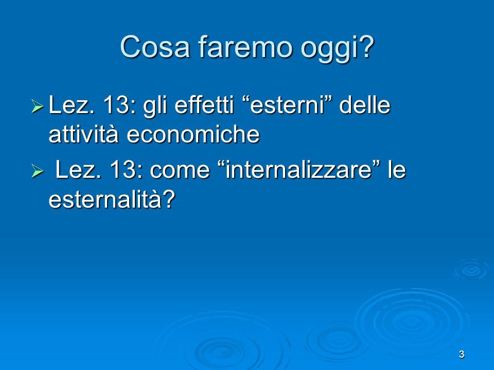 Cosa faremo oggi. Lez. 13: gli effetti esterni delle attività economiche.
