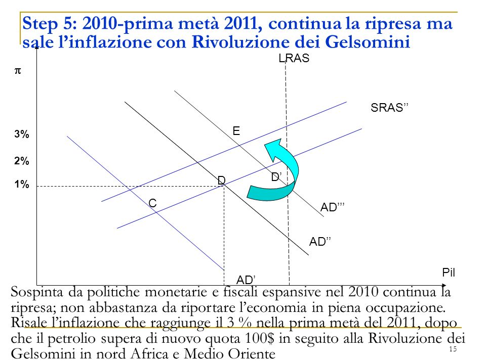 Step 5: 2010-prima metà 2011, continua la ripresa ma sale l'inflazione con Rivoluzione dei Gelsomini