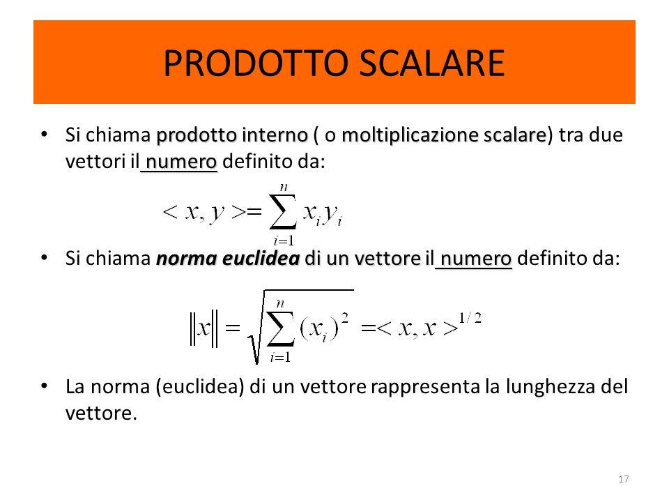 PRODOTTO SCALARE Si chiama prodotto interno ( o moltiplicazione scalare) tra due vettori il numero definito da: