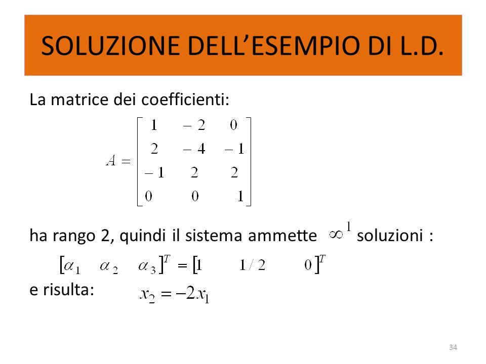 SOLUZIONE DELL'ESEMPIO DI L.D.