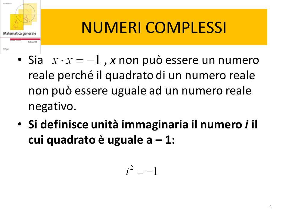 NUMERI COMPLESSI Sia , x non può essere un numero reale perché il quadrato di un numero reale non può essere uguale ad un numero reale negativo.