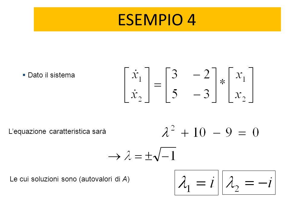 ESEMPIO 4 Dato il sistema L'equazione caratteristica sarà