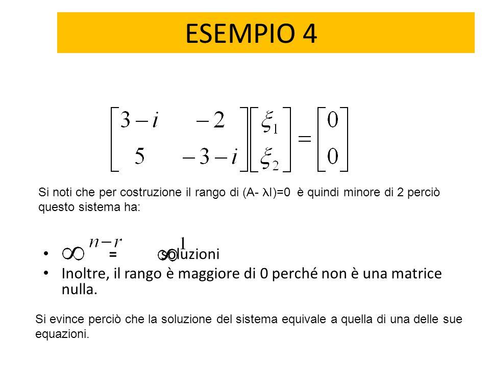 ESEMPIO 4 Si noti che per costruzione il rango di (A- I)=0 è quindi minore di 2 perciò questo sistema ha: