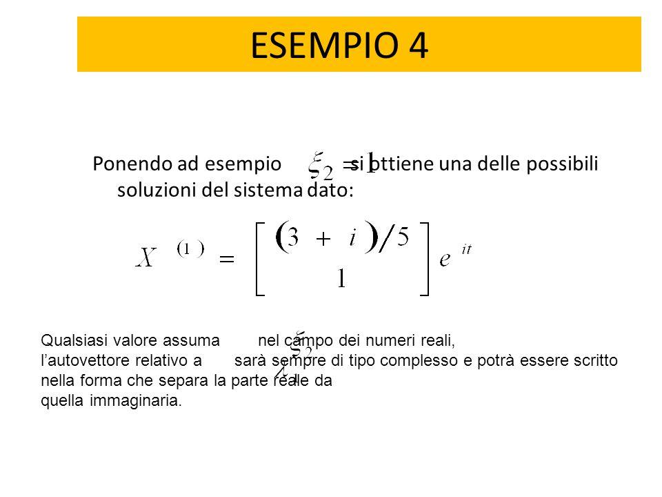 ESEMPIO 4 Ponendo ad esempio si ottiene una delle possibili soluzioni del sistema dato: