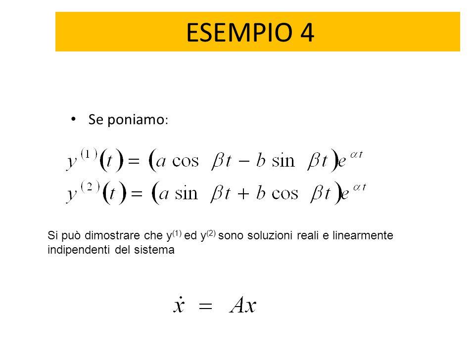 ESEMPIO 4 Se poniamo: Si può dimostrare che y(1) ed y(2) sono soluzioni reali e linearmente indipendenti del sistema.