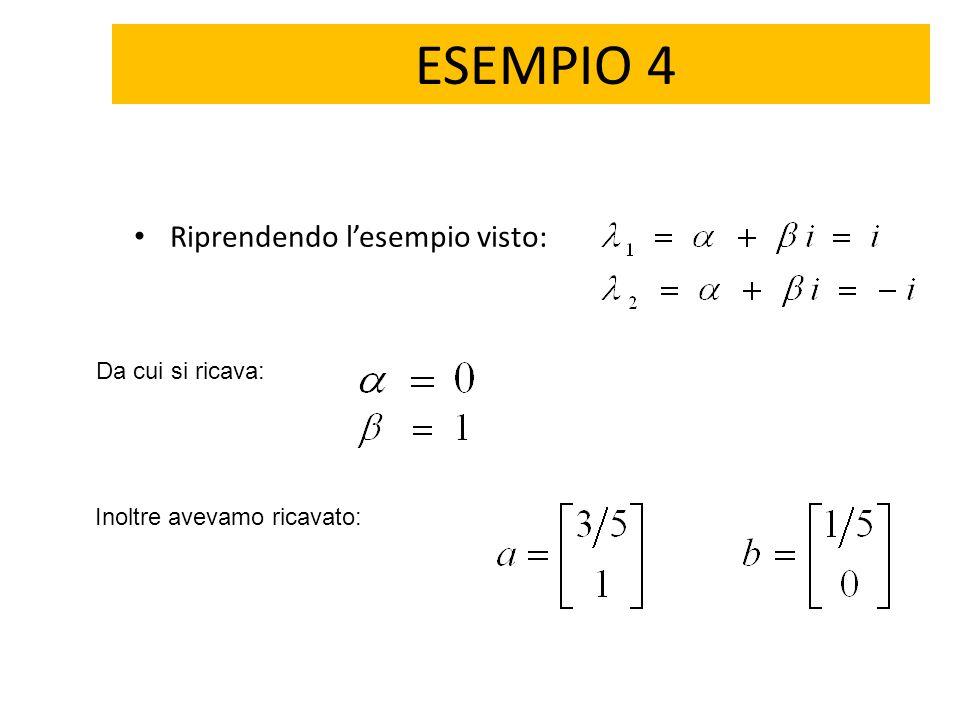 ESEMPIO 4 Riprendendo l'esempio visto: Da cui si ricava: