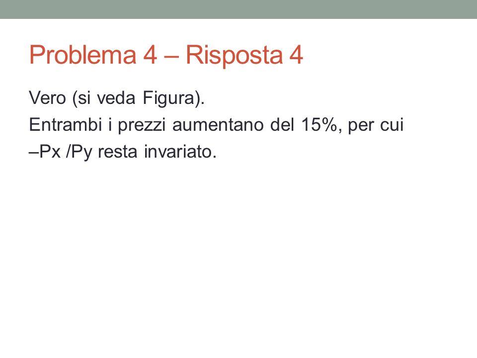 Problema 4 – Risposta 4Vero (si veda Figura).