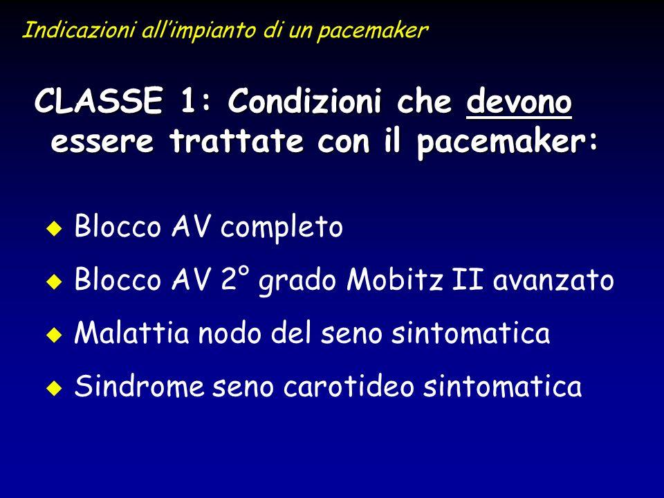 CLASSE 1: Condizioni che devono essere trattate con il pacemaker: