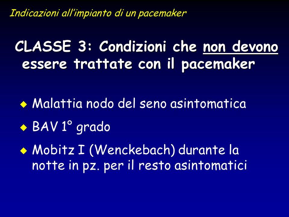 CLASSE 3: Condizioni che non devono essere trattate con il pacemaker