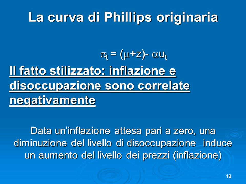 La curva di Phillips originaria