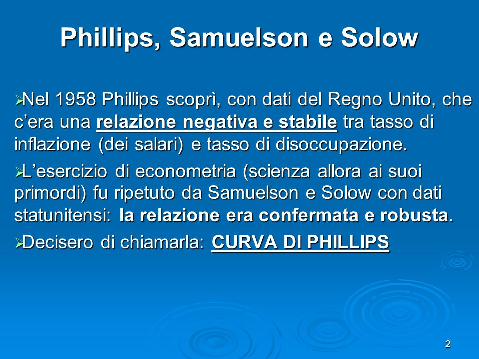 Phillips, Samuelson e Solow