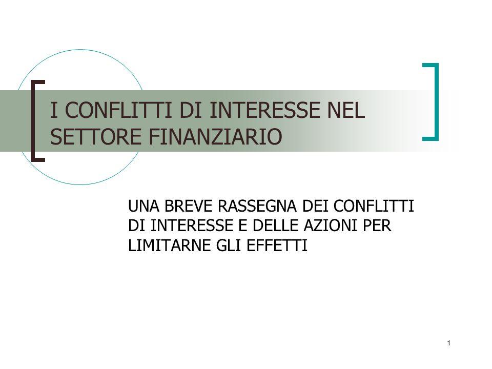 I CONFLITTI DI INTERESSE NEL SETTORE FINANZIARIO
