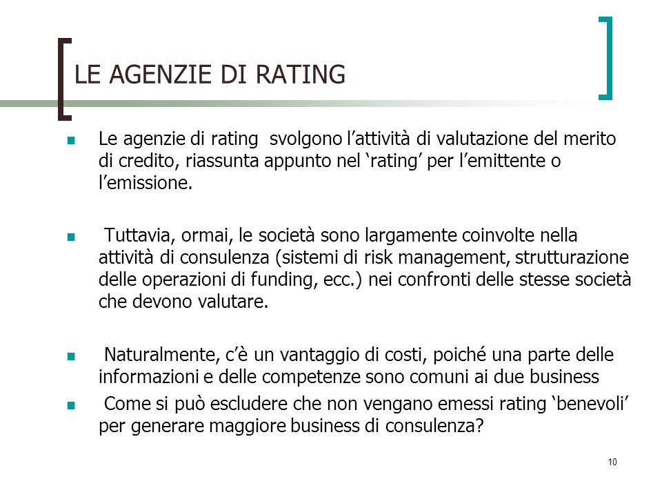 LE AGENZIE DI RATING