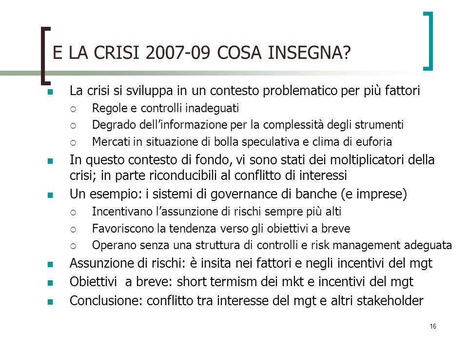 E LA CRISI 2007-09 COSA INSEGNA