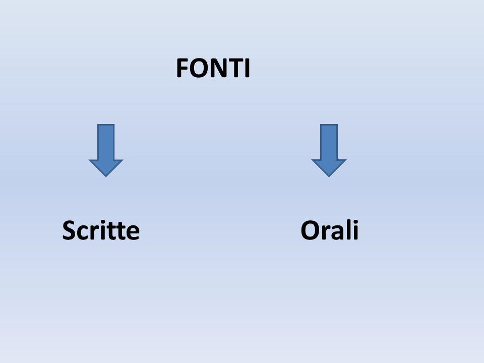 FONTI Scritte Orali
