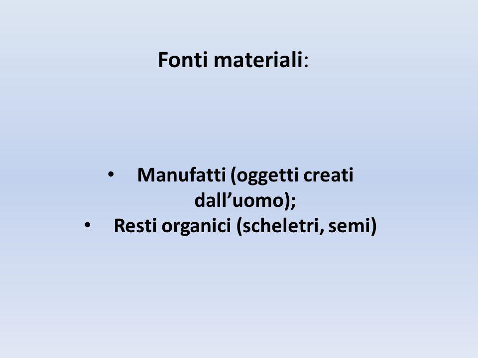 Manufatti (oggetti creati dall'uomo); Resti organici (scheletri, semi)