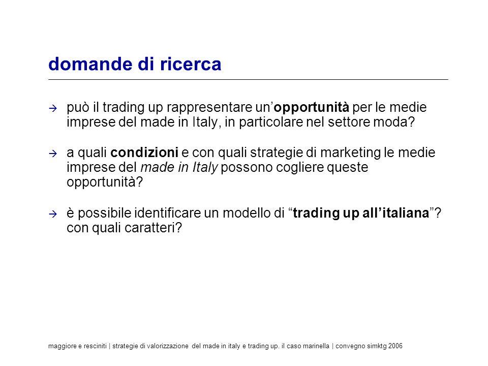 domande di ricerca può il trading up rappresentare un'opportunità per le medie imprese del made in Italy, in particolare nel settore moda