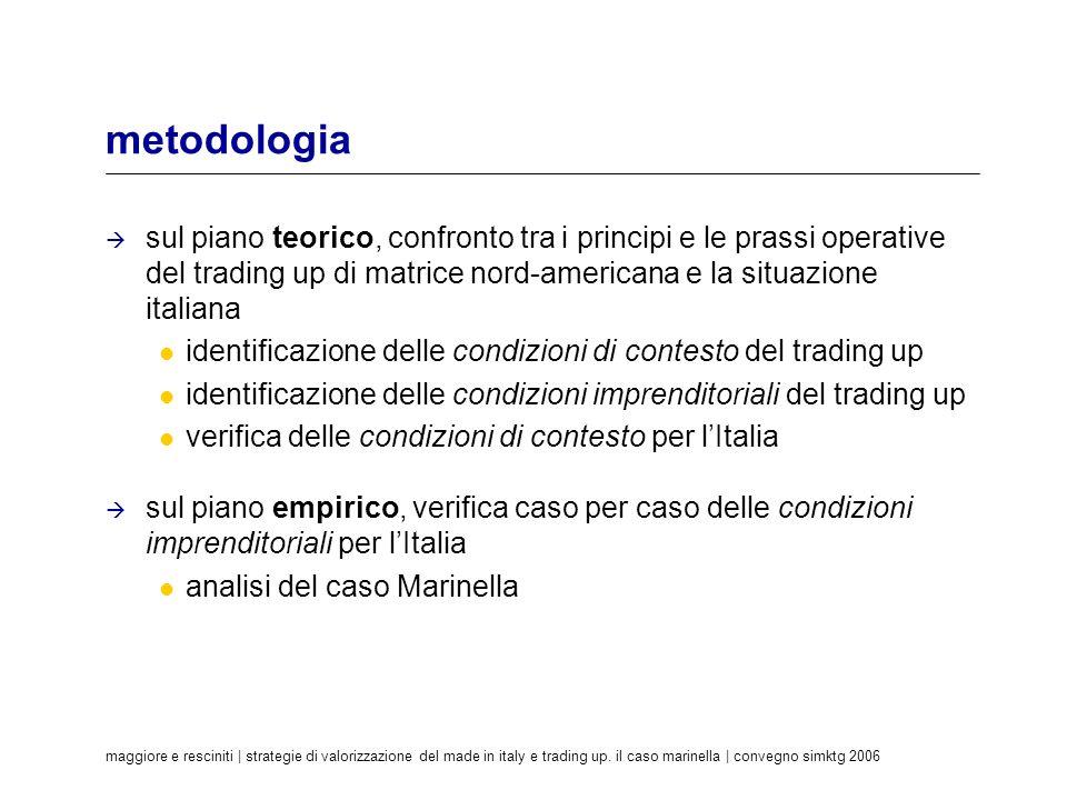 metodologia sul piano teorico, confronto tra i principi e le prassi operative del trading up di matrice nord-americana e la situazione italiana.