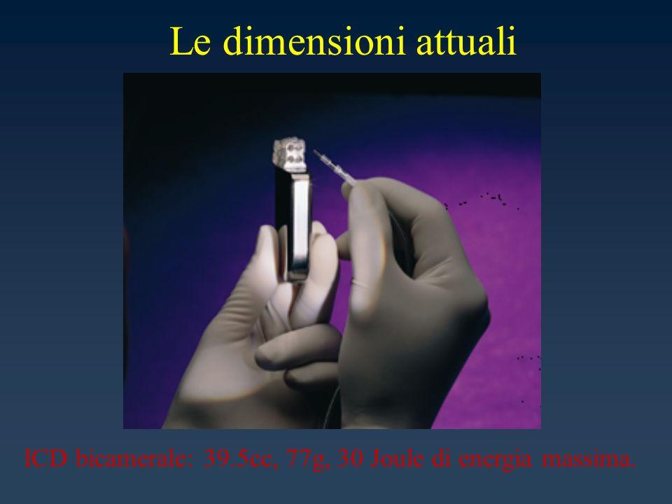 Le dimensioni attuali ICD bicamerale: 39.5cc, 77g, 30 Joule di energia massima.