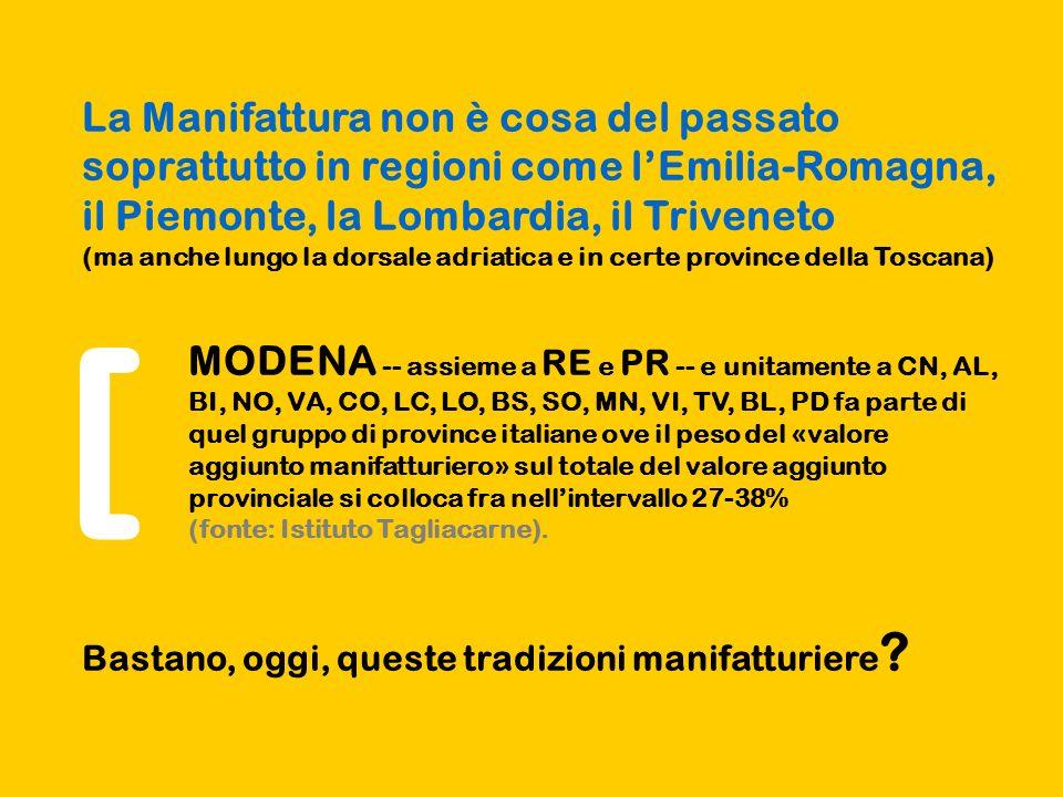 La Manifattura non è cosa del passato soprattutto in regioni come l'Emilia-Romagna, il Piemonte, la Lombardia, il Triveneto