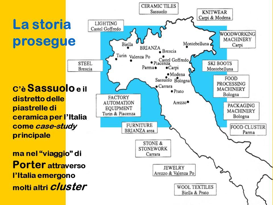 La storia prosegue C'è Sassuolo e il distretto delle piastrelle di ceramica per l'Italia come case-study principale.