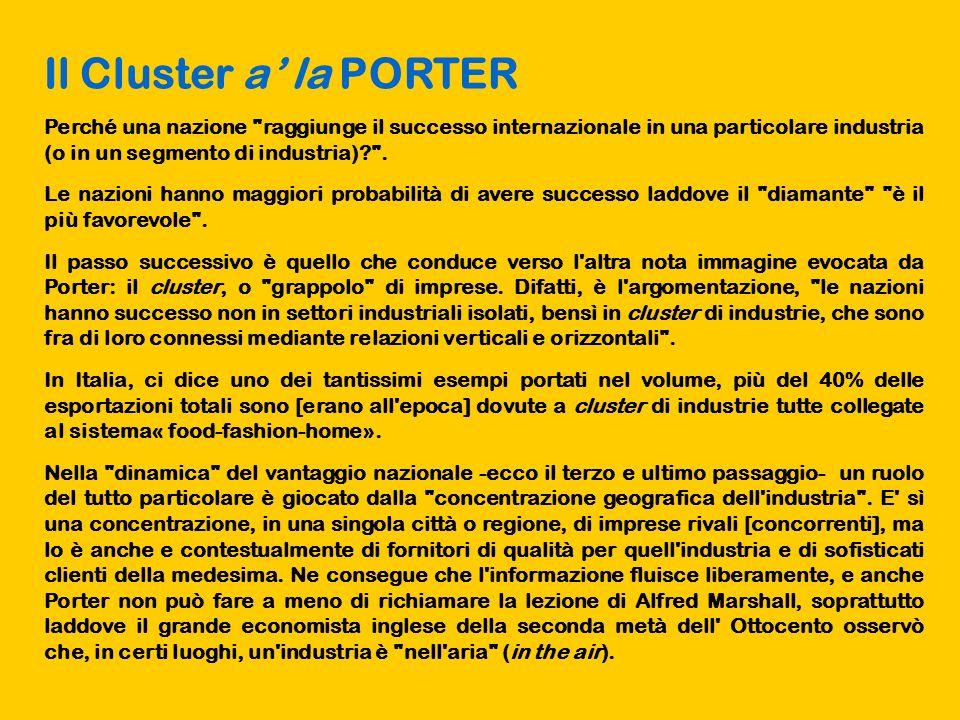 Il Cluster a' la PORTER Perché una nazione raggiunge il successo internazionale in una particolare industria (o in un segmento di industria) .