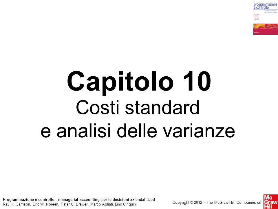 Costi standard e analisi delle varianze