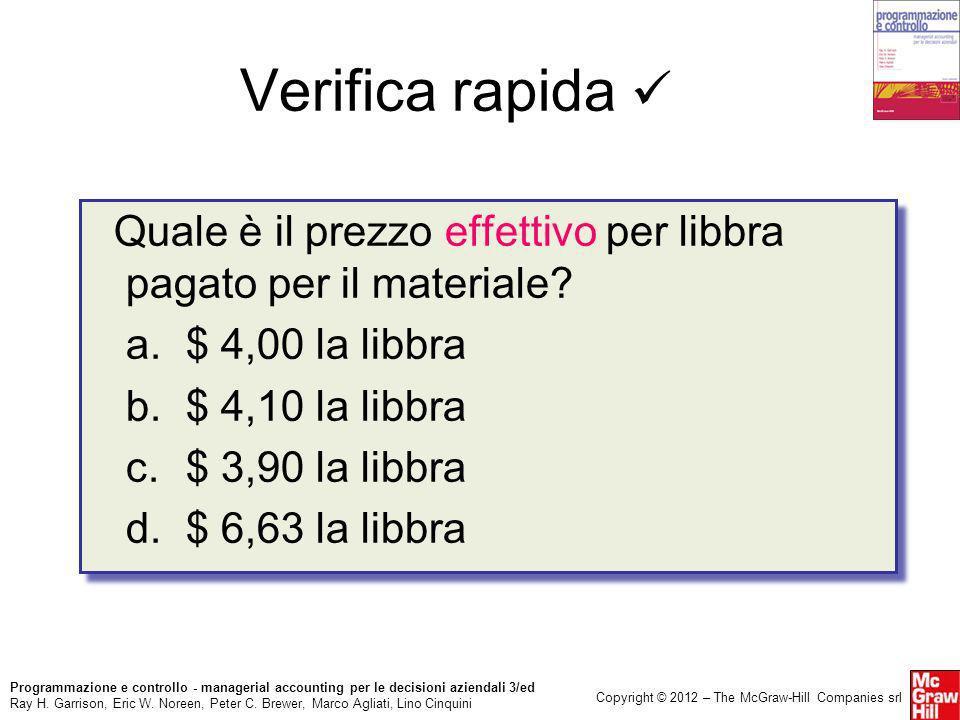 Verifica rapida  Quale è il prezzo effettivo per libbra pagato per il materiale a. $ 4,00 la libbra.