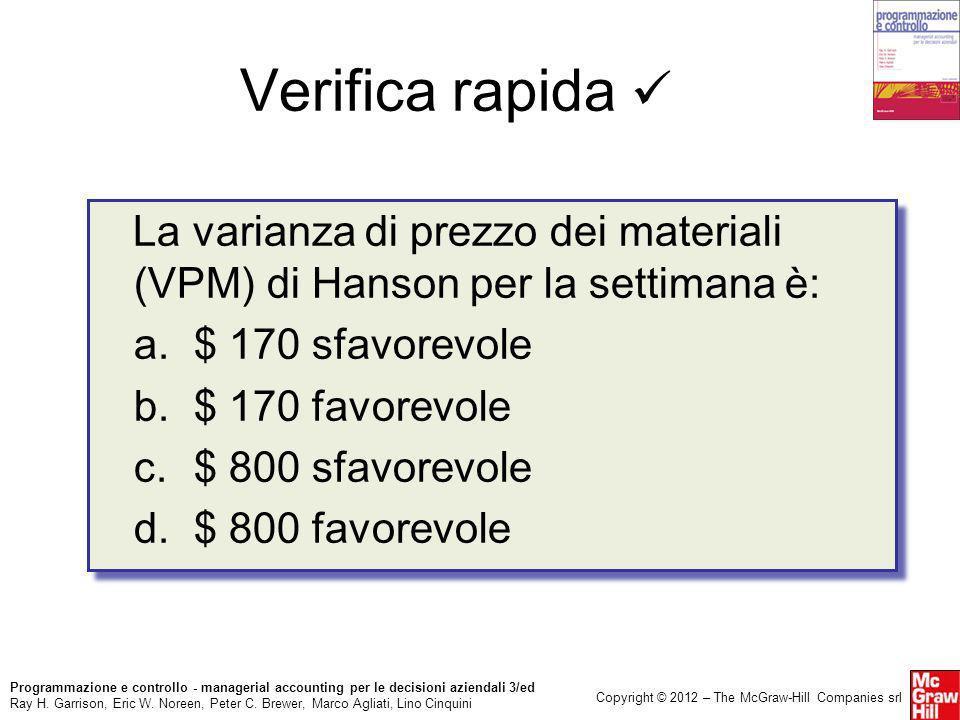 Verifica rapida  La varianza di prezzo dei materiali (VPM) di Hanson per la settimana è: a. $ 170 sfavorevole.