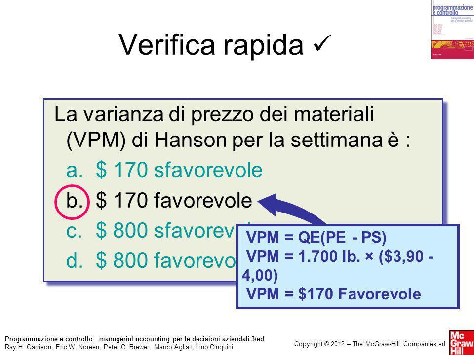 Verifica rapida  La varianza di prezzo dei materiali (VPM) di Hanson per la settimana è : a. $ 170 sfavorevole.