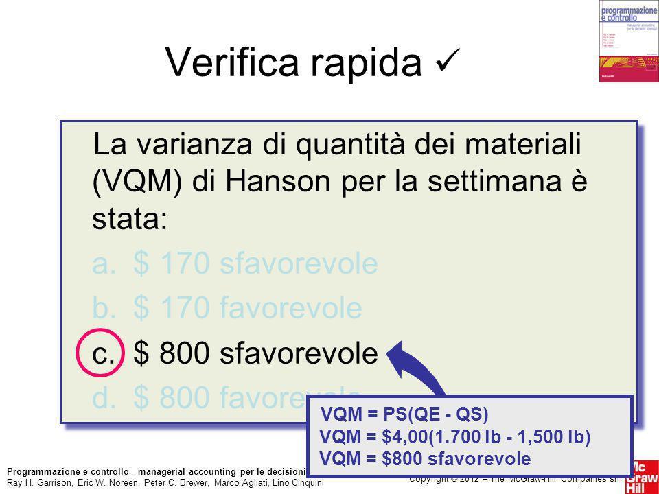 Verifica rapida  La varianza di quantità dei materiali (VQM) di Hanson per la settimana è stata: a. $ 170 sfavorevole.