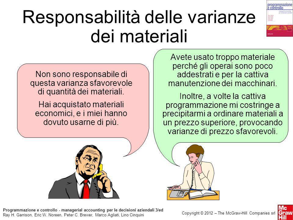 Responsabilità delle varianze dei materiali