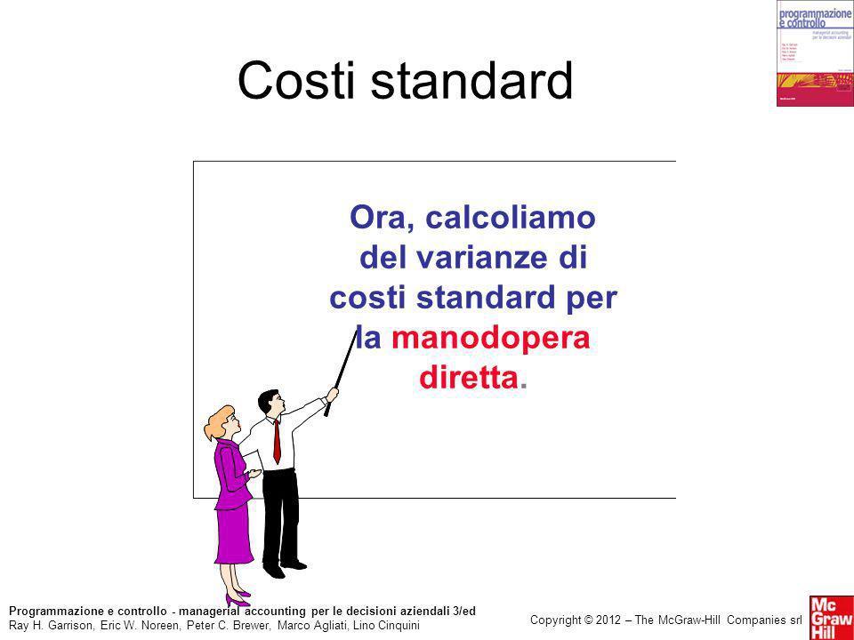 Costi standard Ora, calcoliamo del varianze di costi standard per la manodopera diretta.