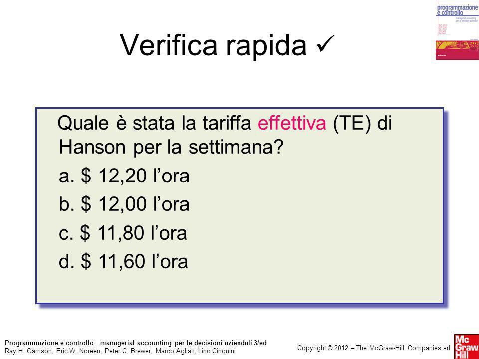 Verifica rapida  Quale è stata la tariffa effettiva (TE) di Hanson per la settimana a. $ 12,20 l'ora.