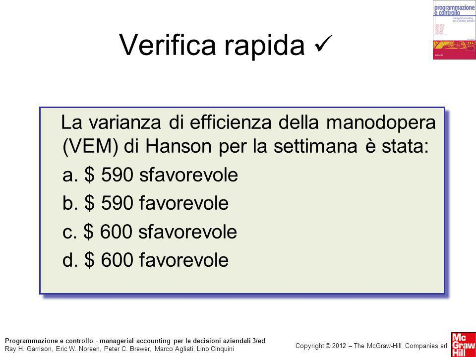 Verifica rapida  La varianza di efficienza della manodopera (VEM) di Hanson per la settimana è stata: