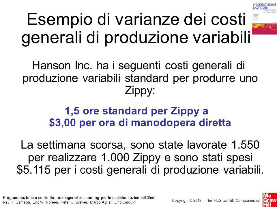 Esempio di varianze dei costi generali di produzione variabili