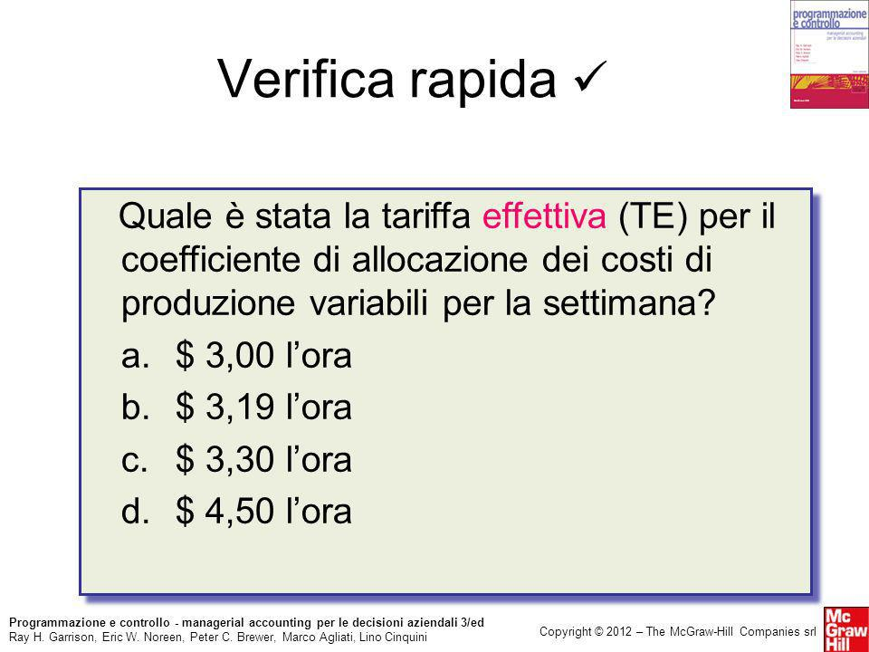 Verifica rapida  Quale è stata la tariffa effettiva (TE) per il coefficiente di allocazione dei costi di produzione variabili per la settimana