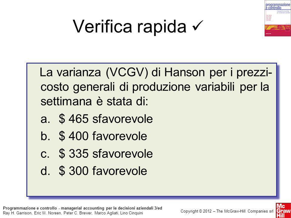 Verifica rapida  La varianza (VCGV) di Hanson per i prezzi-costo generali di produzione variabili per la settimana è stata di:
