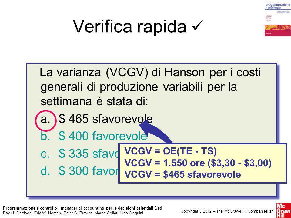 Verifica rapida  La varianza (VCGV) di Hanson per i costi generali di produzione variabili per la settimana è stata di: