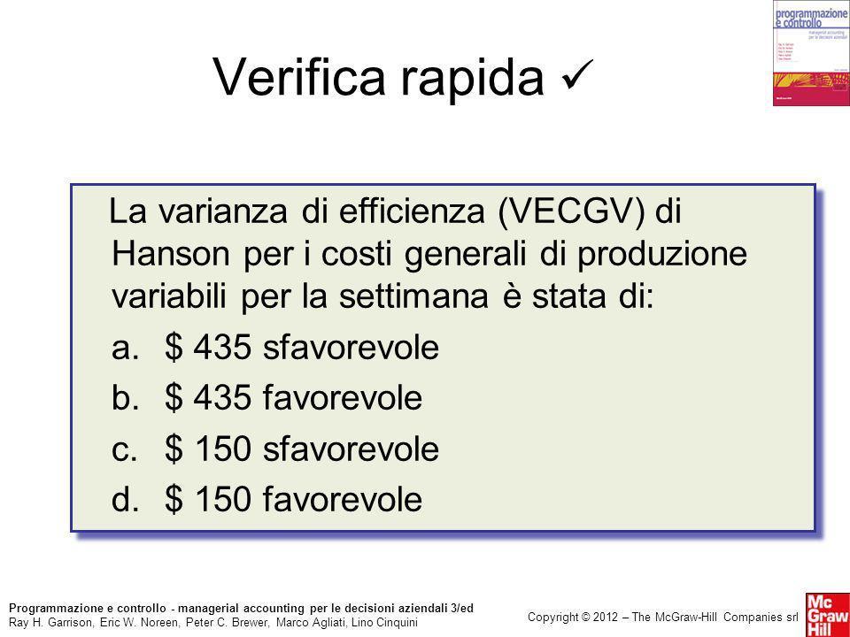 Verifica rapida  La varianza di efficienza (VECGV) di Hanson per i costi generali di produzione variabili per la settimana è stata di: