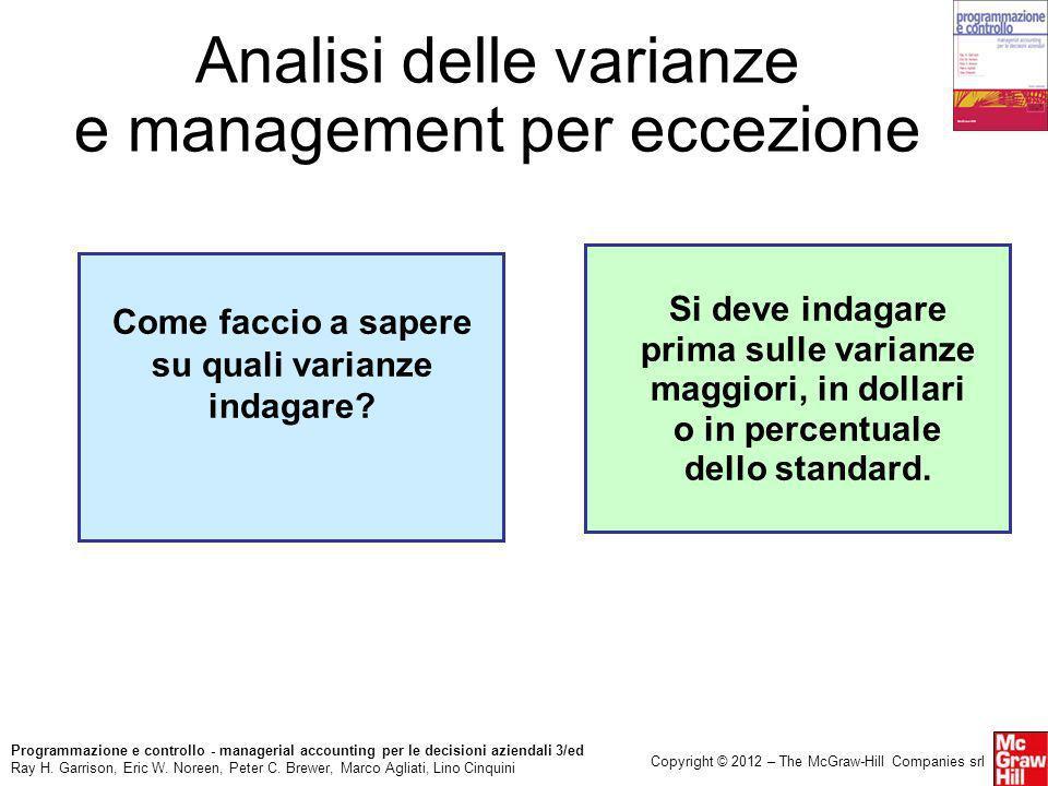 Analisi delle varianze e management per eccezione