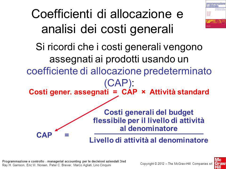 Coefficienti di allocazione e analisi dei costi generali