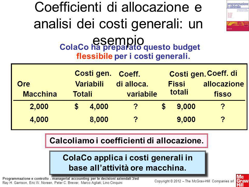 Coefficienti di allocazione e analisi dei costi generali: un esempio
