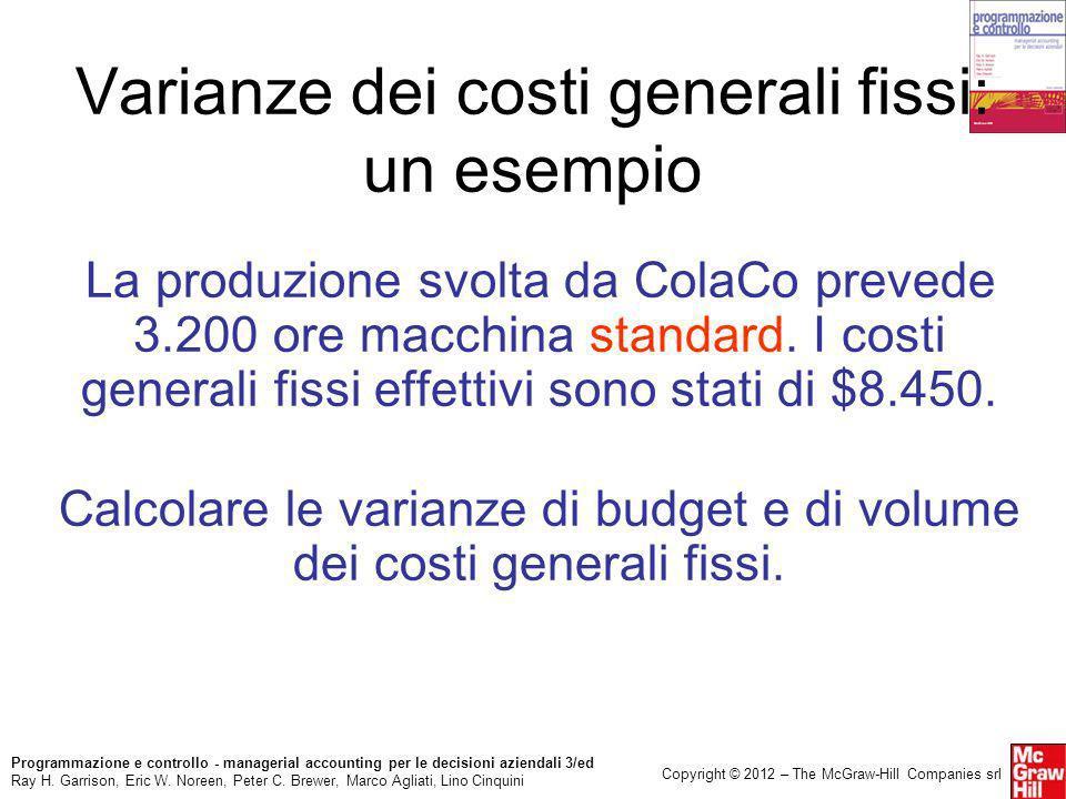 Varianze dei costi generali fissi: un esempio