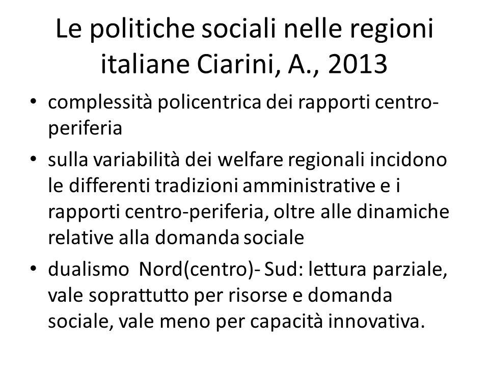 Le politiche sociali nelle regioni italiane Ciarini, A., 2013