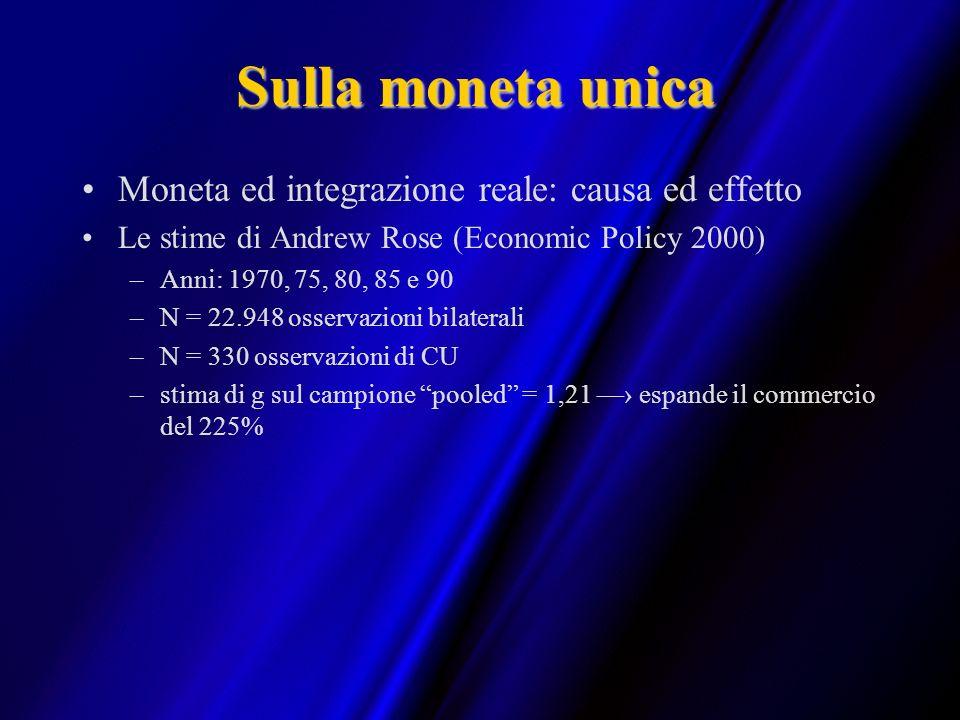 Sulla moneta unica Moneta ed integrazione reale: causa ed effetto