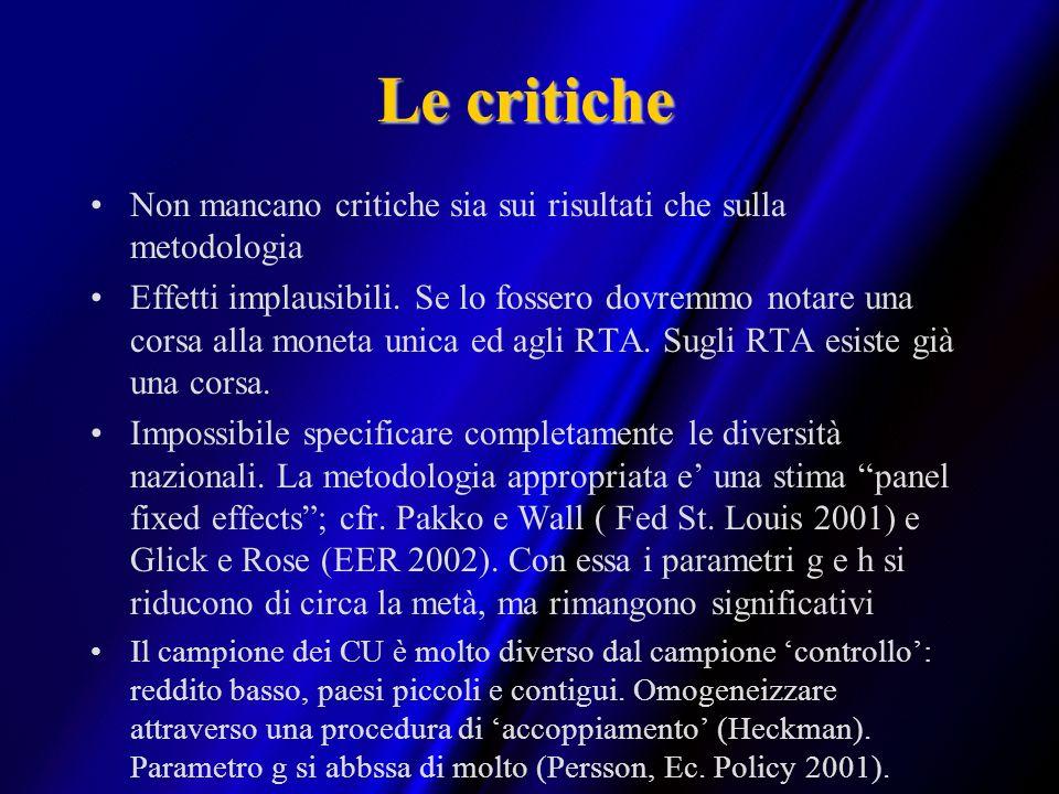 Le critiche Non mancano critiche sia sui risultati che sulla metodologia.