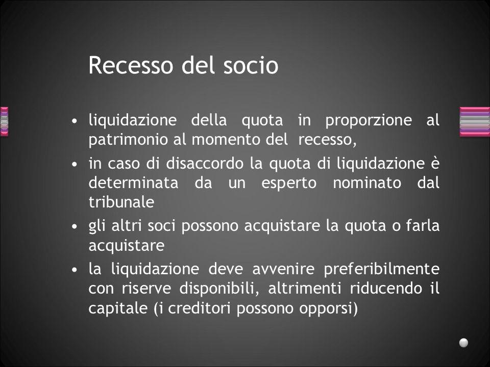 Recesso del socio liquidazione della quota in proporzione al patrimonio al momento del recesso,